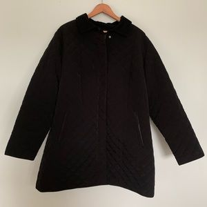 Liz Claiborne Black Quilted Coat, Corduroy Collar